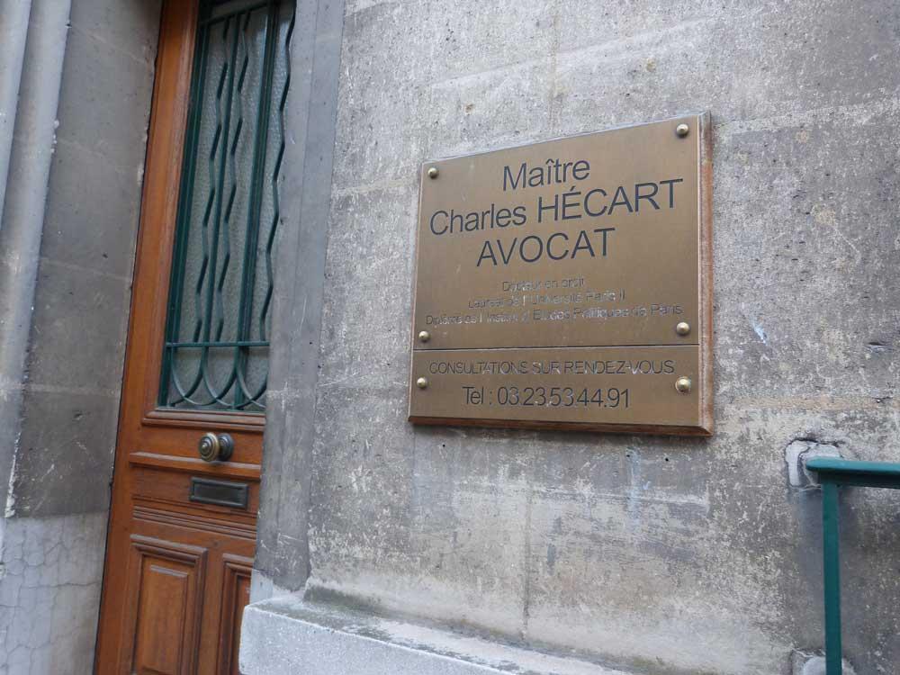 Entrée du cabinet de Maître HÉCART